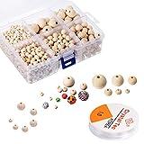 1105 Pcs Perline Legno Naturale Perline, Legno Rotonde Perline, con 1 Rotolo Elastico di Cristallo Linea per Fai da Te Gioielli, 6 Dimensioni (6 mm/ 8 mm/ 10 mm/ 12 mm/ 16 mm/ 20 mm)