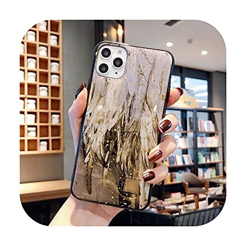 Funda de lujo con textura de piedra de granito de mármol de aluminio dorado para iPhone 12 Mini 11 Pro Xs Max X XR 6 6s 7 8 Plus suave cubierta-D48-para iPhone 12 12Pro