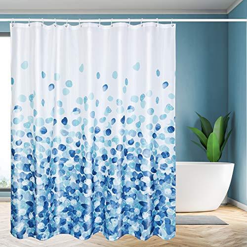 "Yelis Waterproof Shower Curtain Polyester Fabric Shower Curtain with 12 Hooks Shower Curtain for Bathroom, Bathtub with Machine 72"" 72""(Blue Petals)"