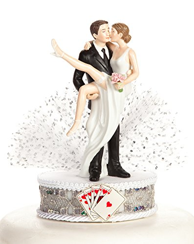 Funny Sexy Over the Threshold Las Vegas Wedding Cake Topper