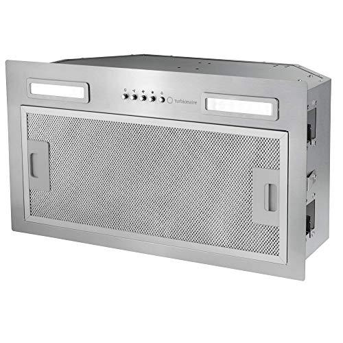 Turbionaire Luna 50 TLN50S - Campana extractora de cocina empotrable de 52 cm, de acero inoxidable, con aspiración de 434 m³/h, 3 velocidades, luz LED de 3200 K, filtro antigrasa de 5 capas