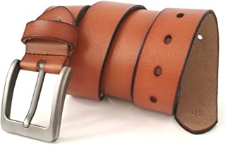 """JingHao Belts for Men Genuine Leather Casual Belt for Dress Jeans Regular Big and Tall Black Brown Size 28""""-63"""", Mens, Fashion Style, Brown, 6XL 52""""-54"""" Length 145cm"""