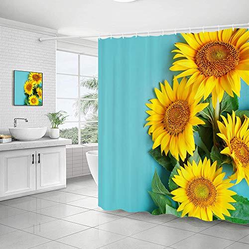 Sonnenblumen-Duschvorhang, Herbst-Wildblumen-Halb-Zoom-Up, Natur, Himmelblau & Gelb, Kunst, langlebig, wasserdicht, Badvorhang-Set für Badezimmer, 182,9 x 182,9 cm, 12 Haken enthalten