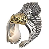 Herren Groß Vintage 925 Sterling Silber Adler Ring mit Gold Kopf Verstellbar