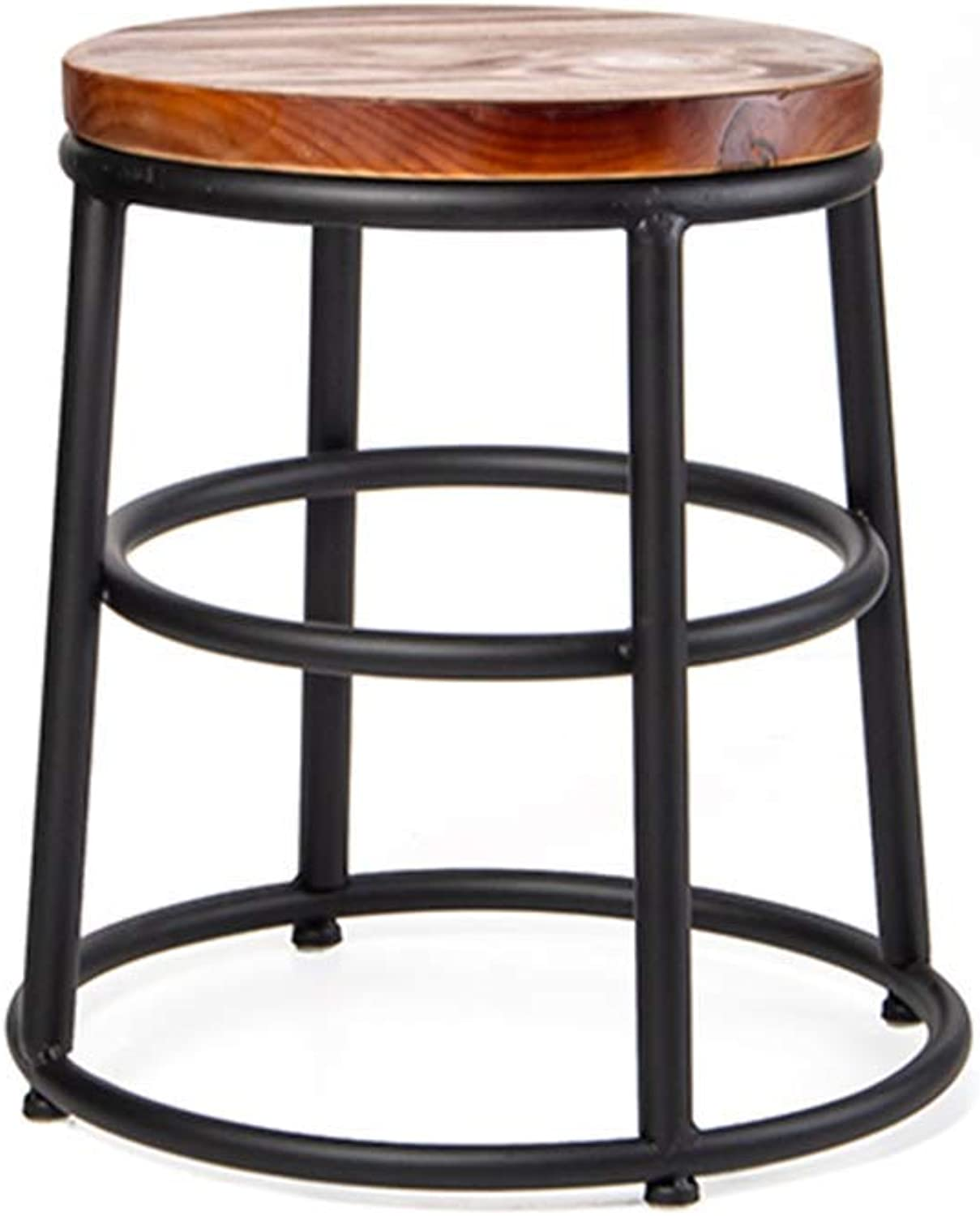 Simple Retro Barstool,Nordic Industrial Style Iron Bar Stool Chair Romantic Leisure Tall Stool with Wooden Seat for Bar Kitchen Pub Breakfast Dining,Black,Black (45cm)