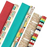 Hallmark Reversible Kraft Birthday Wrapping Paper (Pack of 3, 120 sq. ft. ttl.) Colorful Stripes, Birthday Cake, Solid