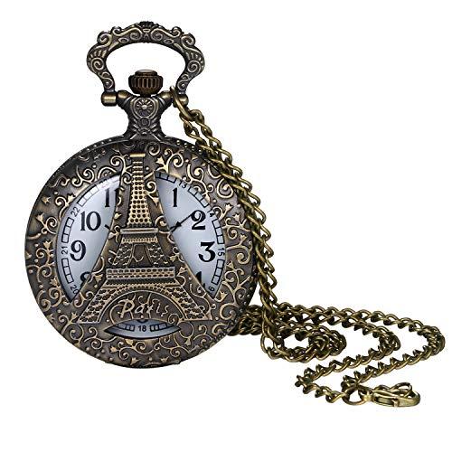 Lancardo Reloj de Bolsillo Retro Cadena de Suéter Reloj Decorativo Redondo Estuche...