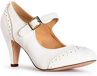 Kids Dress Shoes Mary Jane Ankle Strap Closed Toe Pumps White