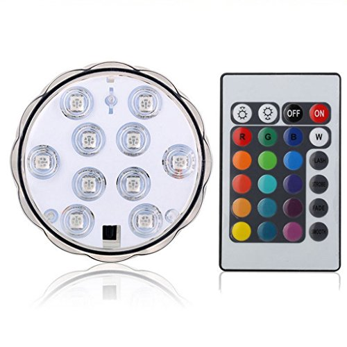 Lámpara Impermeable Florero Luz RGB LED Sumergible Control Remoto Decoración Boda Partido