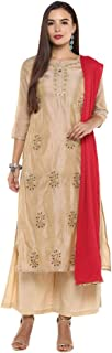 STOP by Shoppers Stop Womens Round Neck Zari Embroidered Palazzo Suit