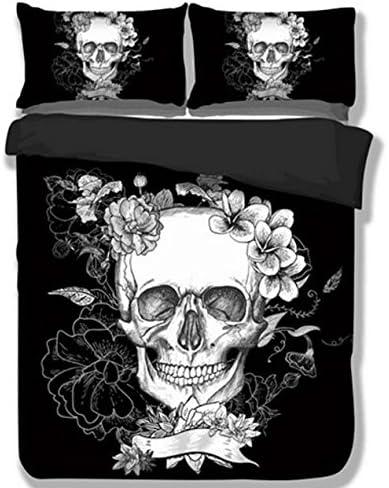 Trust セール 100% 3D Black Skull Sets Reversibl Bedding 訳あり商品 Fully Polyester