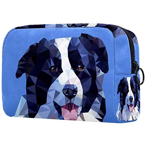ATOMO Bolsa de maquillaje, bolsa de viaje de moda, neceser grande, organizador de maquillaje para mujeres, borde abstracto Collie perro Retrato