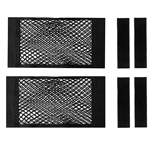 2 Pack Cooler Storage Bag, Heavy Duty Magic Adhesive Mesh Storage Net High Capacity Elastic Nylon Organizer Holder for YETI Tundra 45 Coolers and RTIC 45 Cooler Accessories, Car Resilient Pockets