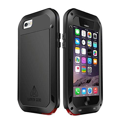 Love Mei Carcasa para iPhone 6/6Plus, metal, Gorilla Glass, resistente al agua, antigolpes