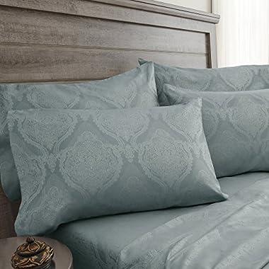 Elite Home Products 800-Thread Count Jacquard Floral Damask Cotton Rich BONUS 6-Piece Sheet Set
