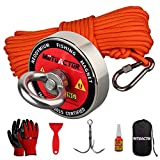 MUTUACTOR Fishing Magnet Kit 400lb with Grappling Hook,Strong Retrieval Magnet N52 with 20m(66Feet) Durable Rope for Magnet Fishing and Magnetic Recovery Salvage Under Water …