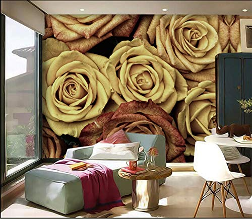 ZJfong Aangepaste 3D muurschilderingen Vintage Rose Art Achtergrond Slaapbank Woonkamer TV Achtergrond Muurdecoratie Behang 300 x 200 cm.