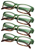 4-Pack Ladies Reading Glasses Spring Hinge with Stylish Color for Women Readers (Green)