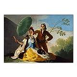 YCHND Francisco Goya 《El Parasol 1777》 Cuadros De Pintura Obras De Arte Famosas Impresiones De Poster Figura Retro Lienzo Arte De Pared para Decoracion del Hogar 70x100cm Sin Marco