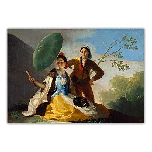 LTXMZ Elegante MäDchen Poster Kunstdrucke Francisco Goya Paras Der Sonnenschirm》 Leinwand öLgemäLde Klassische Wand Bilder Bild Modernes Wohnzimmer Schlafzimmer Dekor 40x60cm Kein Rahmen