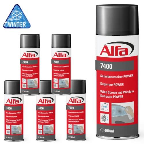 Alfa Scheibenenteiser 6 x 400 ml (2,4 Liter) Power Spraydose schnelle Enteisung bis -20°C Winter Entfroster Scheiben Enteiser Türschloss Türdichtung EIS Frost