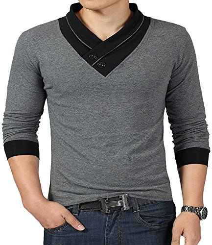 YTD 100% Cotton Mens Casual V-Neck Button Slim Muscle Tops Tee Short Sleeve T- Shirts (US Large, Long Sleeve Gray)