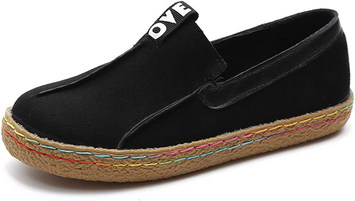 JOYBI Women Fashion Flat Loafers Slip-On Faux Suede Soft Comfortable Ladies Round Toe Casual Boat shoes