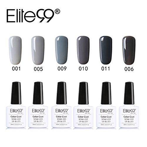 Elite99 UV Nagellack Nail Gel Polish Farbgel Nagelgel Grau(6x Stücke)