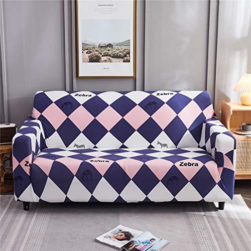 Funda de sofá con estampado de cebra, 1 pieza elástica para sofás, protector de muebles para sala de estar, color rosa, morado, blanco, geometría de 1 plaza.