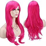 AKStore Fashion Wigs 28' 70cm Long Wavy Curly Hair Heat Resistant Wig Cosplay Wig For Women With Free Wig Cap (Rose)