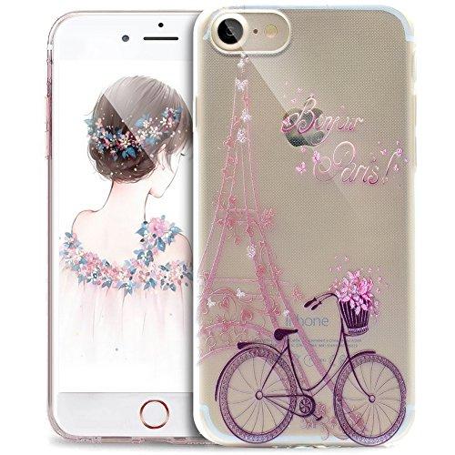 ikasus Cover iPhone 6S,Cover iPhone 6, Disegno colorato con Ragazza Farfalla Cover Silicone Case Molle TPU Trasparente Sottile Case Custodia Cover per iPhone 6S/iPhone 6,Torre Biciclette