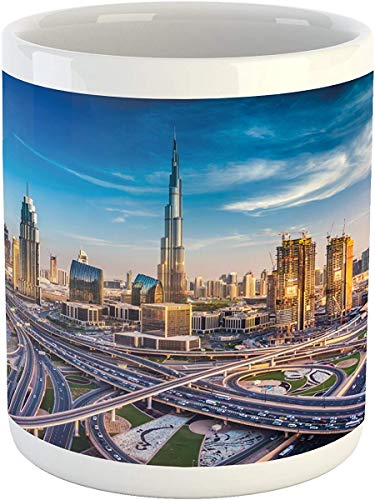 Koffie Mok 11 oz Thee Beker, Stadsmok, Panoramisch Uitzicht van Dubai Arabische Stadsgezicht Hoge Rise Gebouwen Verkeerswegen, Gedrukte Keramische Koffie Mok Water Thee Drankjes Beker, Blauw Ivoor Goudsbloem