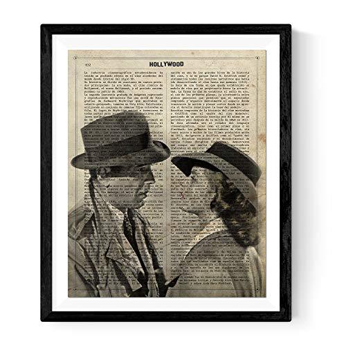 Nacnic Poster de Láminas de Cine, películas, y actores. Posters de películas Antiguas con Estilo Acuarela. Tamaño A4 (24x30, Casablanca)