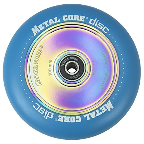 Metal Core Rueda Disc para Scooter Freestyle, Diámetro 100 mm (Azul)