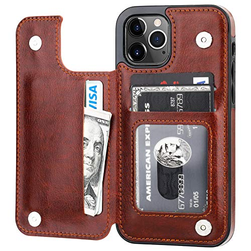ONETOP Compatible with iPhone 12 Compatible with iPhone 12 Pro Wallet Case with Card Holder, PU Leather Kickstand Card Slots Case, Double Magnetic Clasp Durable Shockproof Cover 6.1 Inch(Brown)