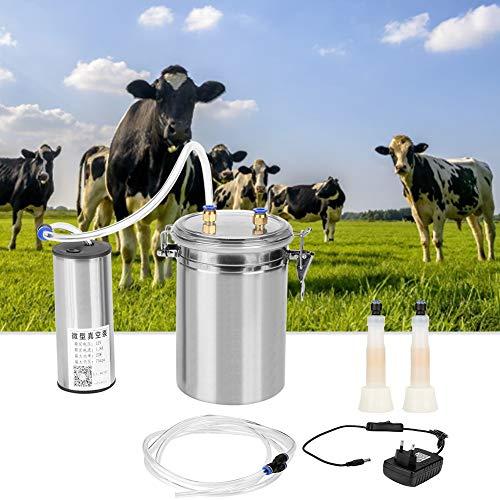 Mungitrice elettrica 2L Pompa vuoto portatile Dispositivo mungitura Barilotto del carro armato dell'acciaio inossidabile flessibile del commestibile per mucche pecore EU Plug 110-240V(per mucche)