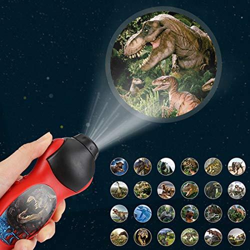 YUY Kinder Projektor Fackel, Kinder Projektion Taschenlampe Leuchtspielzeug, Dinosaurier Muster Fackel Projektor Taschenlampe Kinder Bedtime-Story Lernspielzeug, Spielzeug Für Kleinkinder