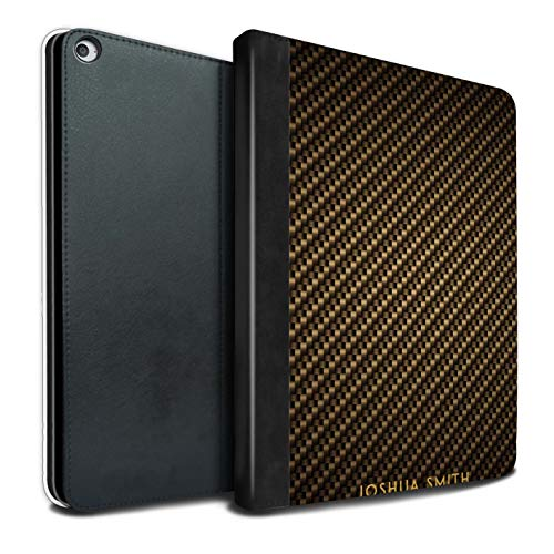 Personalised Tablet Case for Apple iPad Pro 12.9 2017/2nd Gen Carbon Fibre Effect Gold Stamp Flip Faux Book PU Leather Cover