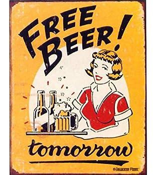 Signs 4 Fun SIG290 Free Beer Tomorrow Metal Tin Sign Yellow