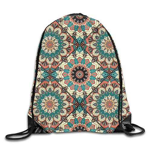BK Creativity String Backpack Bag,Flower Pattern Boho Brown Blue Print Mandala Drawstring Backpack,Stylish Drawstring Bags For Gym Outdoor Travel,36x43cm