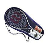Wilson Set de Démarrage Tennis Roland Garros Elite 25 Kit, Comprenant Raquette, Gourde, 2 Balles de Tennis, Sac de Raquette, Pour Enfants et Adolescents De 9-10 Ans, WR070310F