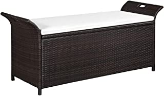 Tidyard Outdoor Patio Wicker Storage Bench Deck Box with Cushion Poly Rattan Brown 54.3