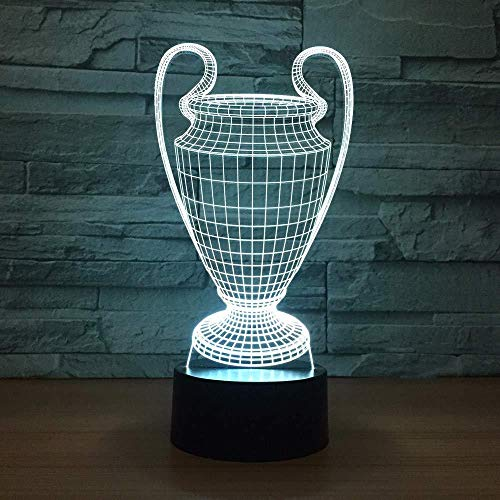 Nacht Licht 3D Slapende Lamp Voetbal Cup Trofee Lamp 7 Kleuren veranderen 3D LED Nachtlampje Touch Knop USB Baby Slaapkamer Slaap Luminaria