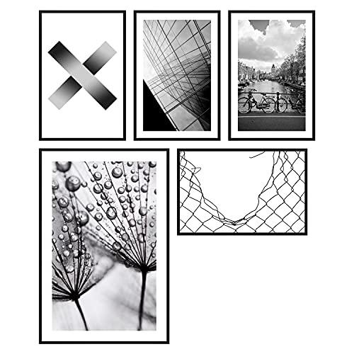 decomonkey | Poster 5er – Set schwarz-weiß Abstrakt Kunstdruck Wandbild Print Bilder Kunstposter Wandposter Posterset Stadt Natur Hochhäuser Wasser Pusteblume Muster