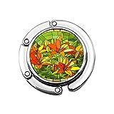 Perchero Mosaico de Flores Verdes Grandes Celdas de Lirios Rojos Brillantes Brotes en la Ventana de Cristal Ed Redondo Ventana Floral Bolso Gancho