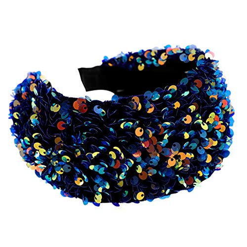 FNKDOR Women Headband Sweet Simple Wide Brimmed Sequin Headband Fashion Wash Face Hair Band Hair Accessories(Blue,One size)