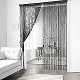 90×200cm String Curtains Room Divider, Solid Color Door String Curtains, Dustproof Decorative Curtains, Adjustable Length Door Partition Home Decoration (Black)