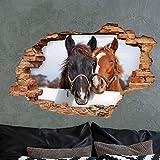 Sticker 3D Effekt | Wandaufkleber Pferd - Tapete Dekoration optische Täuschung Raum und Wohnzimmer | 60 x 90 cm - 2
