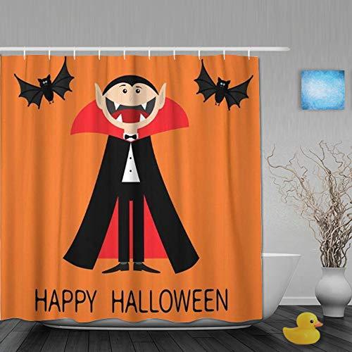 Cortina de Baño,Feliz Halloween Conde Drácula con Capa Negra y roja,Cortinas de Ducha con 12 Ganchos de plástico 180 * 200cm