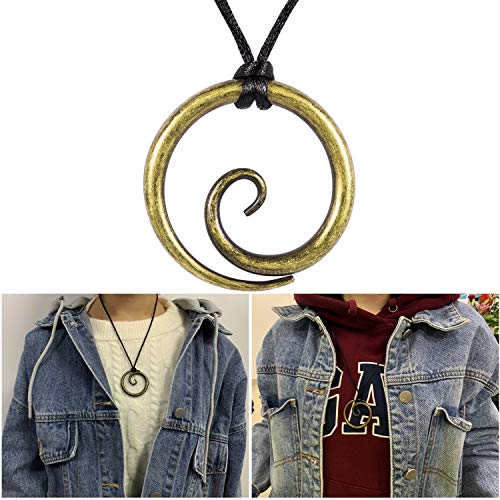Celtic Single Spiral Pendant Hand-Forged Brass Color Iron with Adjustable Neck Cord – Dark Age/Medieval/Viking/Norse/Blacksmith/Necklace